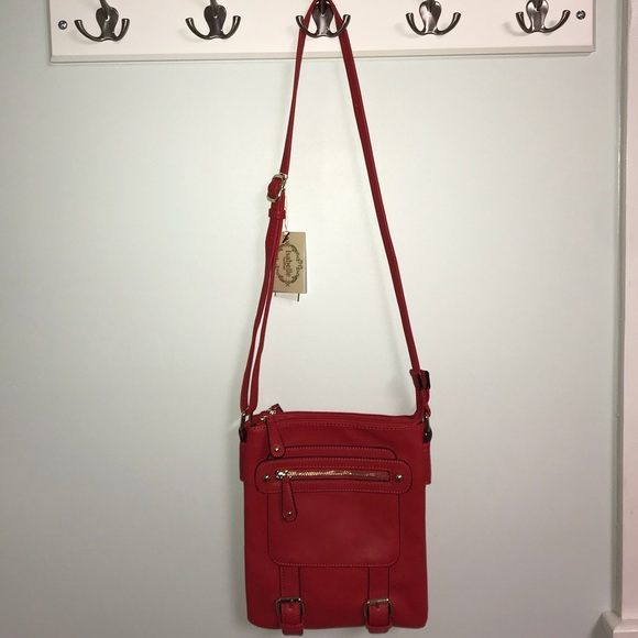 hot product size 7 2019 authentic Red Vegan Isabelle Crossbody